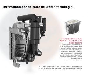 Intercambiador de calor de las calderas de condensación Themafast Condens 25 y 30 de Saunier Duval.