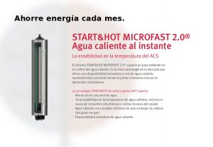 Sistema la caldera Isofast Condens F35 de Saunier Duval, start&hot microfast 2.0. Disfrute de agua caliente al instante.