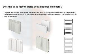 Calefacción con todo tipo de emisores. Diferentes tipos de radiadores.