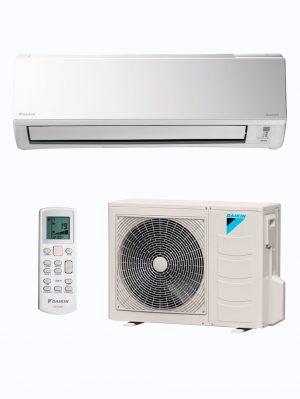 El conjunto de aire acondicionado 1x1 de Daikin TXB50C. Split, compresor o unidad exterior y mando a distancia.