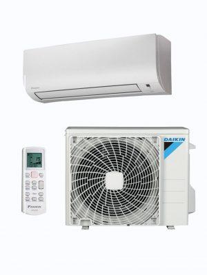 Split de pared, compresor y mando a distancia del aire acondicionado Daikin TX35KN y TX25KN.