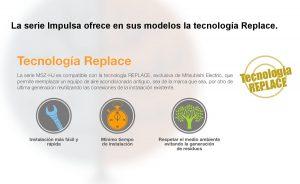 Tecnologia Replace de los modelos de aire acondicionado de Mitsubishi MSZ-HJ50VA y MSZ-HJ60VA.