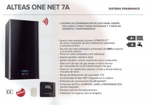 Caracteristicas de las calderas Ariston Alteas One Net de 24, 30 y 35 kW.