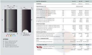 Ficha técnica de las calderas de condensación Ariston Alteas One Net de 24, 30 y 35 kW.