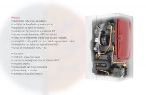 Enumeración de las ventajas de la caldera Wolf FGB 28 y Wolf FGB K-35 kW.